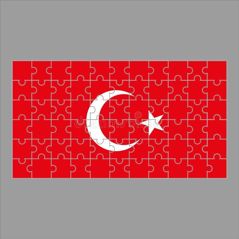 Bandeira de Turquia dos enigmas em um fundo cinzento ilustração royalty free