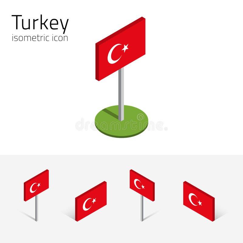 Bandeira de Turquia, grupo do vetor dos ícones 3D isométricos ilustração stock