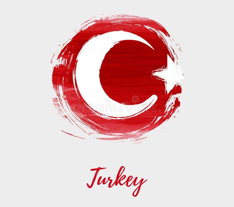 Bandeira de Turquia na forma redonda do grunge ilustração do vetor