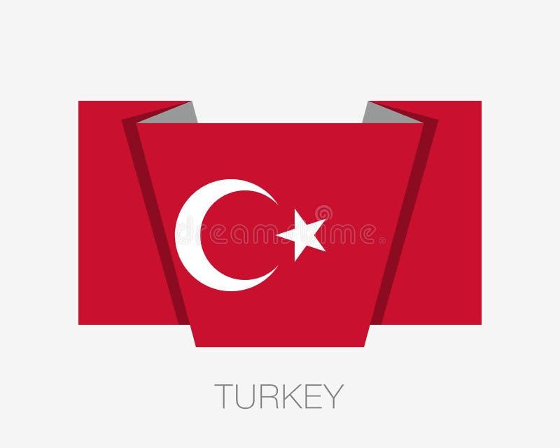 Bandeira de Turquia Bandeira de ondulação do ícone liso com nome de país ilustração royalty free