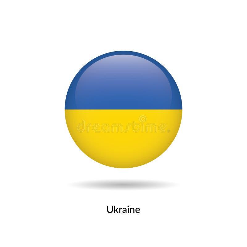 Bandeira de Ucrânia - lustroso redondo ilustração do vetor