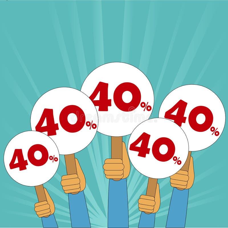bandeira de um disconto de 40 por cento ilustração stock