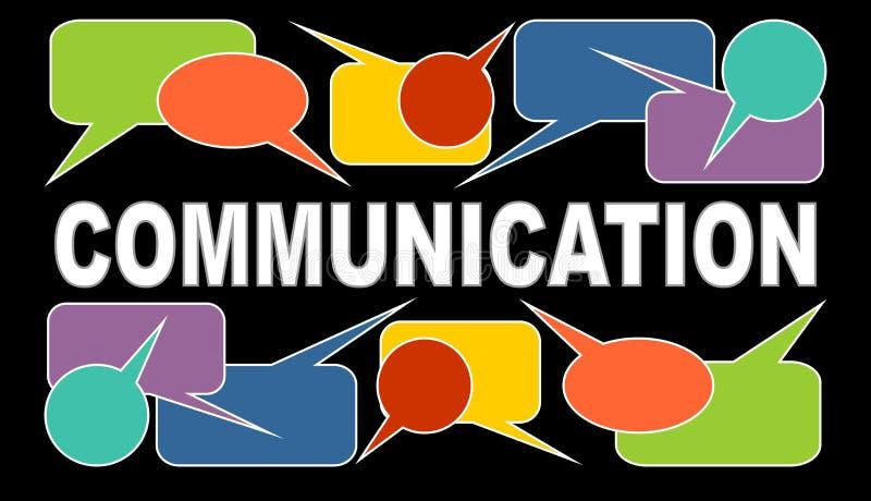 A bandeira de uma comunicação com título branco e discurso colorido borbulha Caixas do Callout no fundo preto gráficos ilustração royalty free