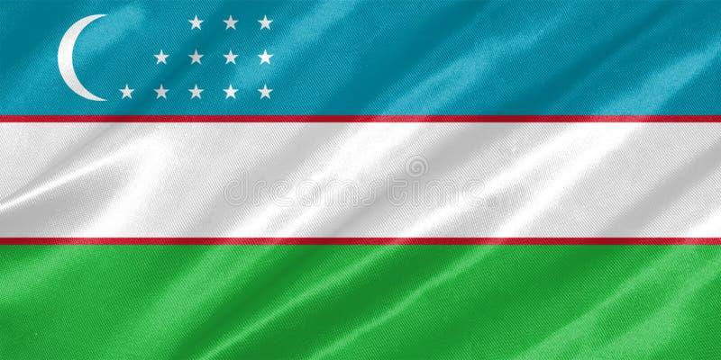 Bandeira de Usbequistão ilustração do vetor
