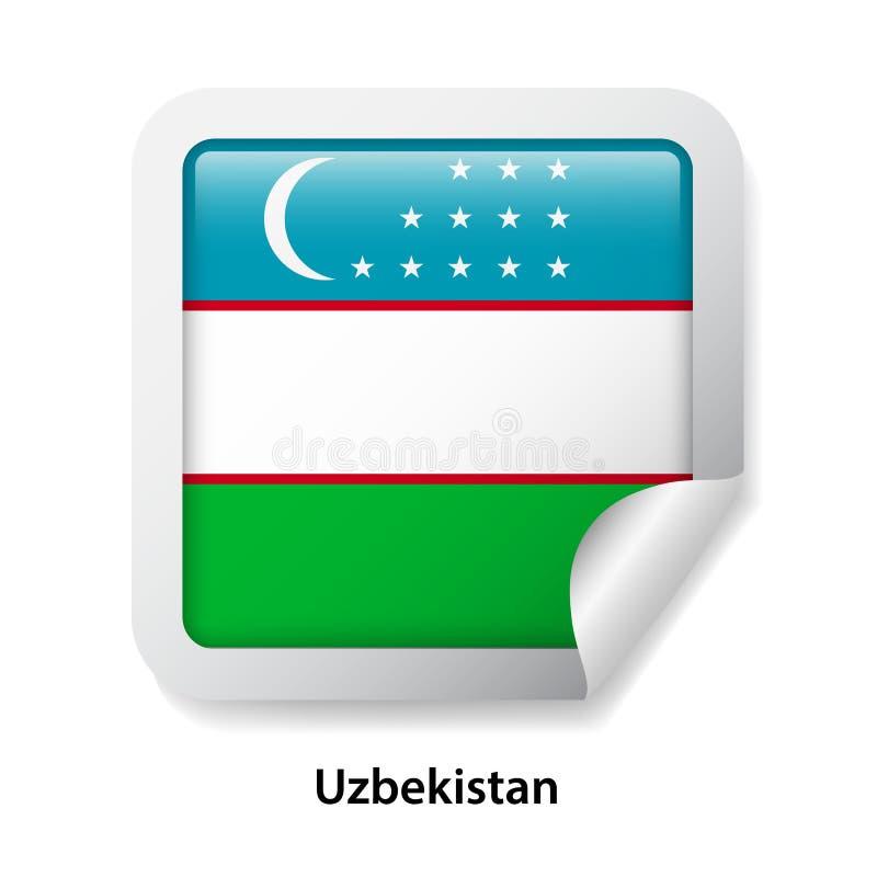 Bandeira de Uzbekistan Etiqueta lustrosa redonda do crachá fotos de stock royalty free