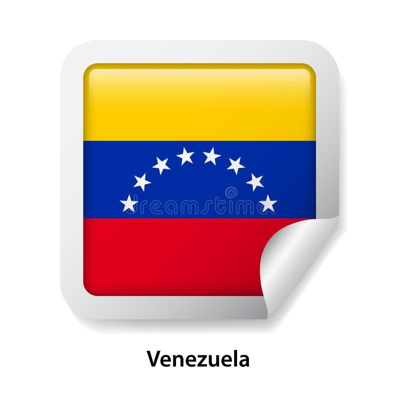 Bandeira de Venezuela Etiqueta lustrosa redonda do crachá imagem de stock royalty free
