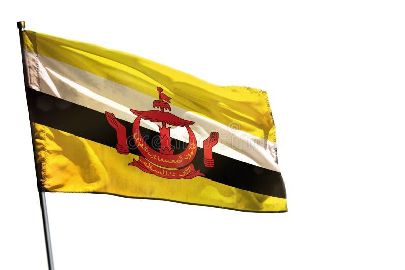 Bandeira de vibração de Brunei Darussalam Darussalam no fundo branco claro isolado imagens de stock royalty free