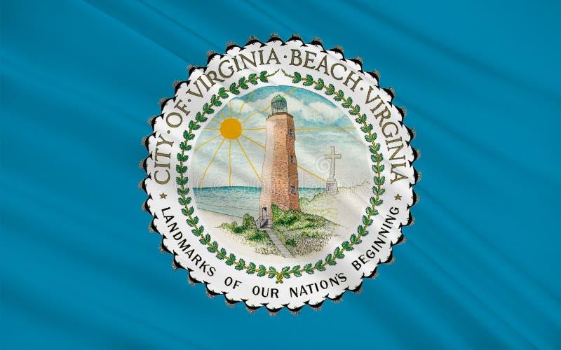 Bandeira de Virginia Beach em Virgínia, EUA ilustração royalty free