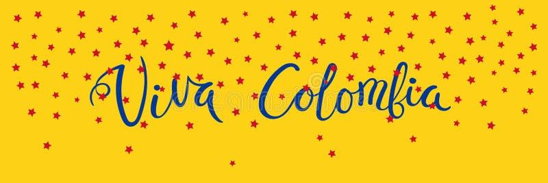 Bandeira de Viva Colombia ilustração do vetor