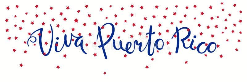Bandeira de Viva Puerto Rico ilustração royalty free