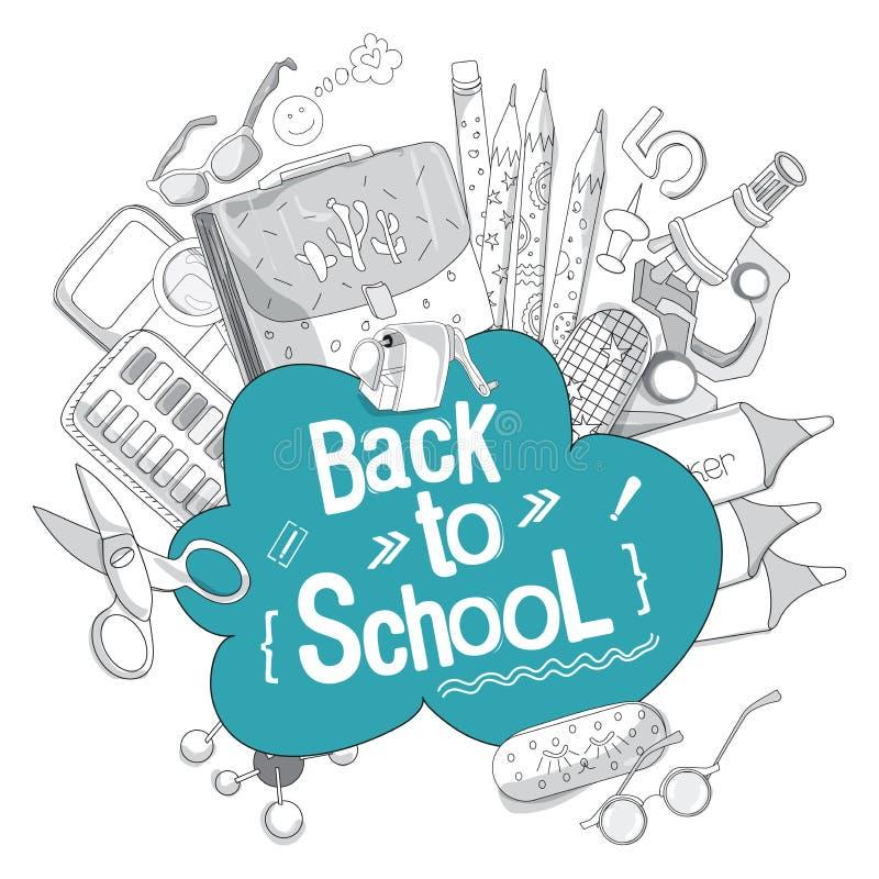 Bandeira de volta à escola no tema educacional para sua blogue ou propaganda ilustração royalty free