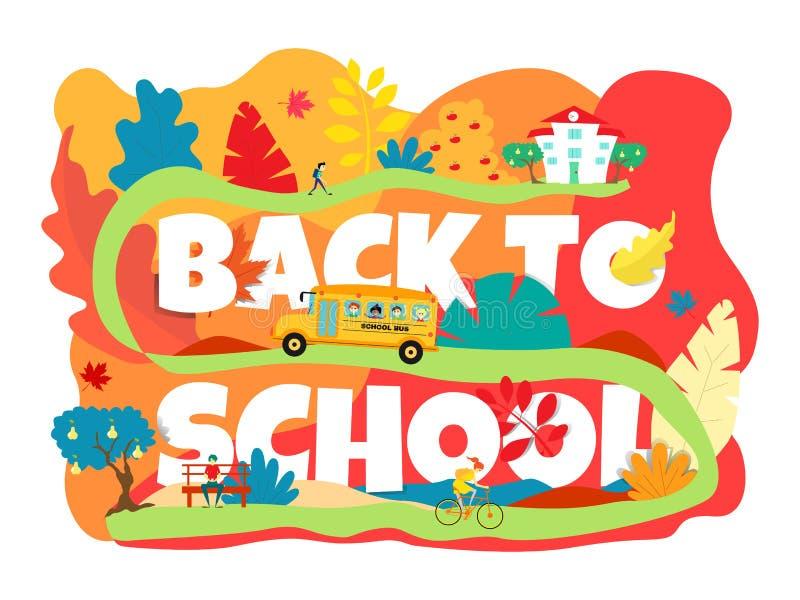 Bandeira de volta ? escola O ônibus escolar vai acima do monte à escola Uma menina que monta uma bicicleta outono no vermelho ilustração do vetor