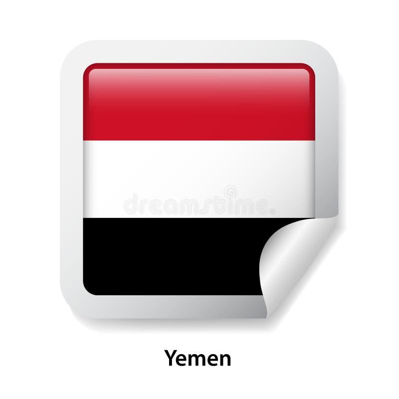 Bandeira de yemen Etiqueta lustrosa redonda do crachá foto de stock