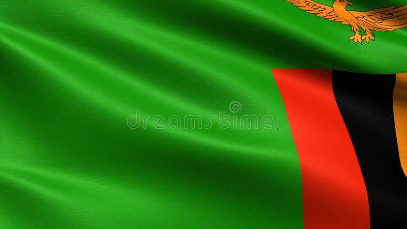 Bandeira de Zâmbia, com textura de ondulação da tela fotografia de stock royalty free