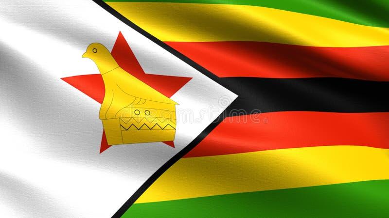Bandeira de Zimbabwe, com textura de ondulação da tela imagens de stock royalty free