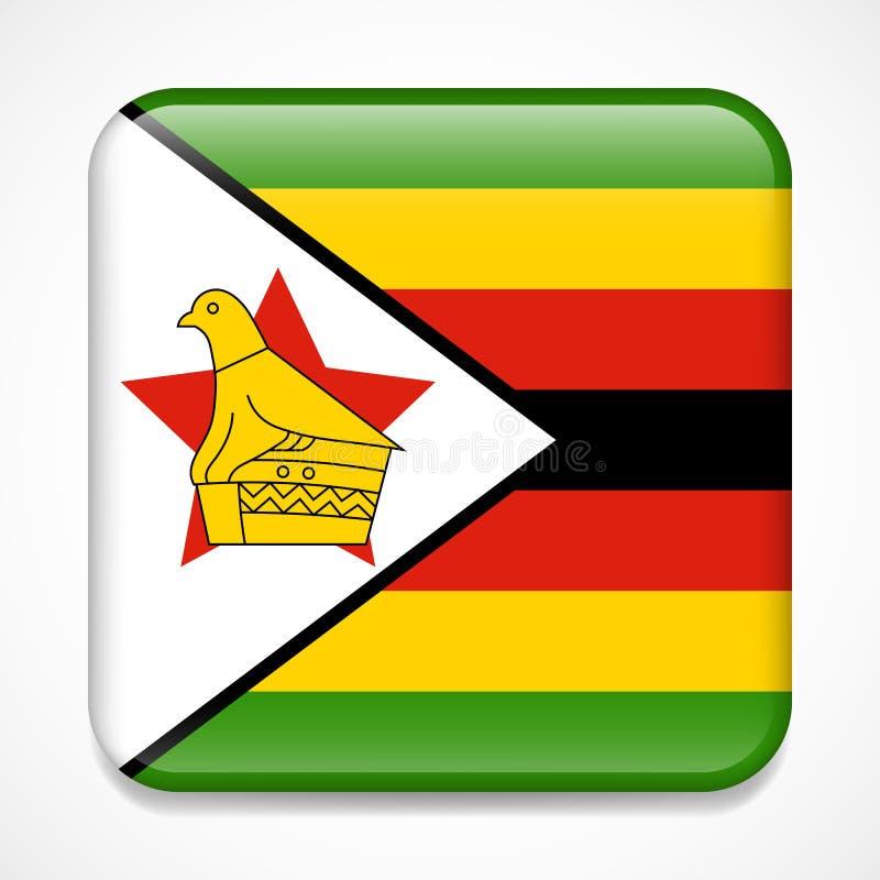 Bandeira de Zimbabwe Crachá lustroso do quadrado imagens de stock royalty free