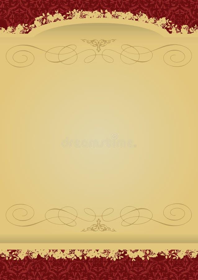 Bandeira decorativa do vermelho e do ouro do vintage ilustração royalty free