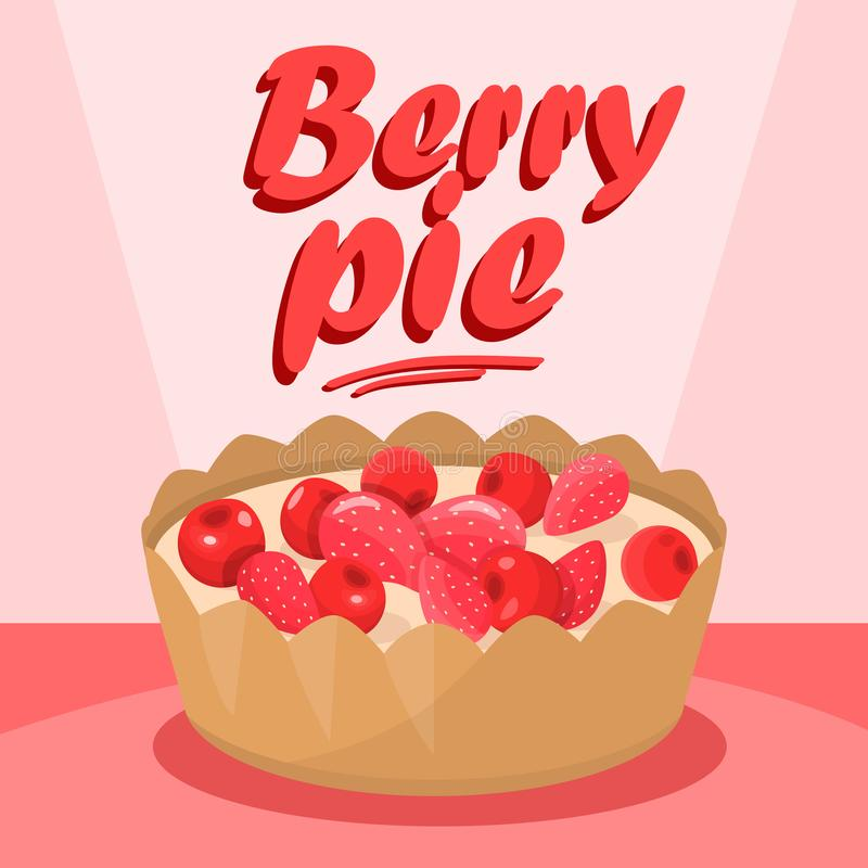 Bandeira deliciosa dos meios de Berry Pie Cartoon Social ilustração stock