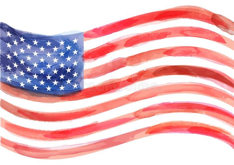 Bandeira desenhado à mão do vetor da aquarela de América no fundo branco ilustração royalty free