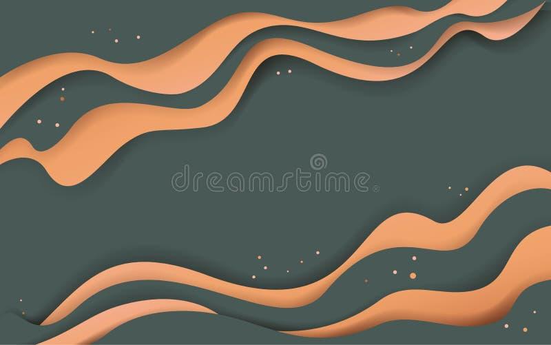 Bandeira digital ondulada abstrata do estilo do corte do papel ilustração stock