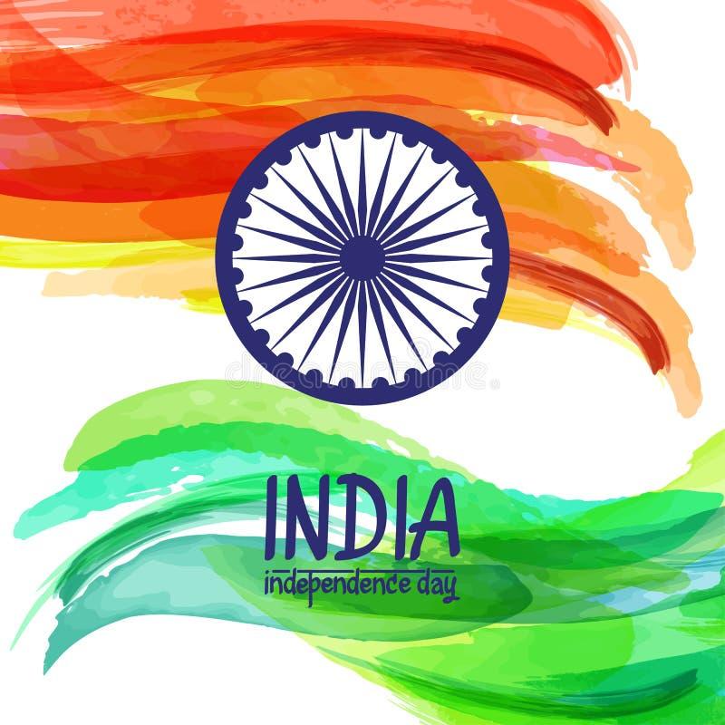 Bandeira digital pintado à mão da Índia da aquarela Molde para o dia e o Dia da Independência indianos da república ilustração do vetor