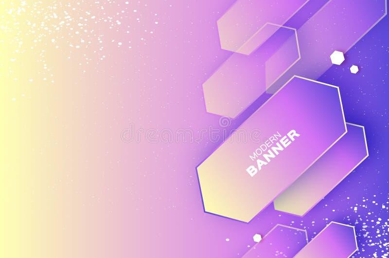 Bandeira dinâmica holográfica no estilo cortado de papel Elementos gráficos de Origam Espaço para o texto ilustração do vetor