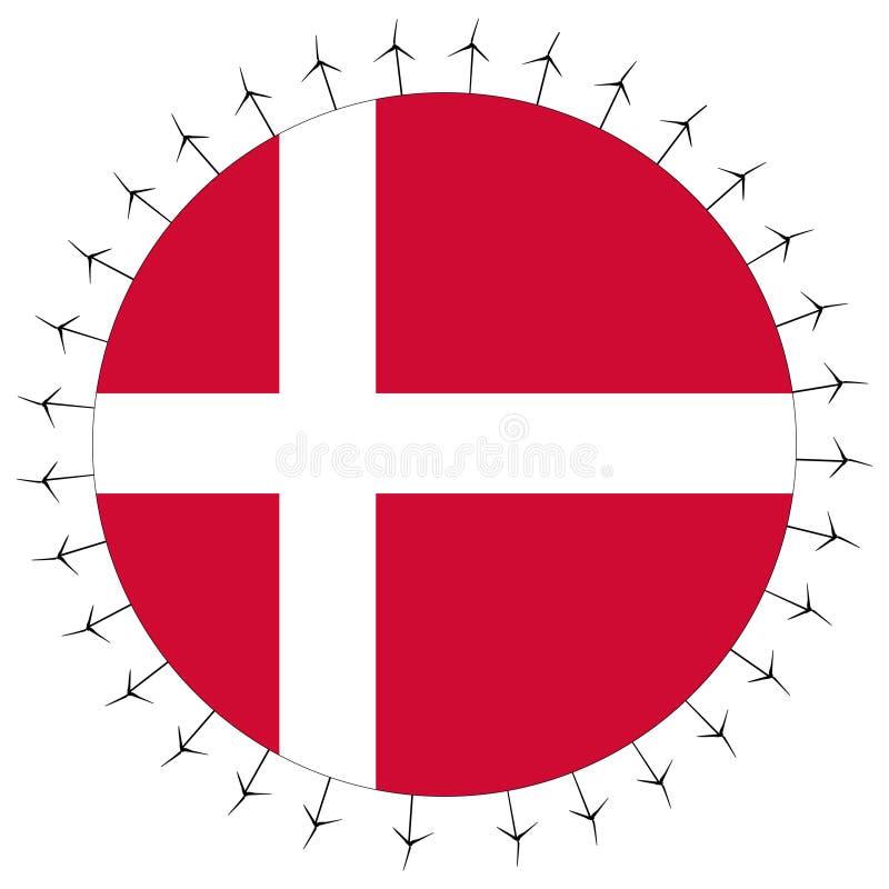Bandeira dinamarquesa com turbinas de vento ilustração stock