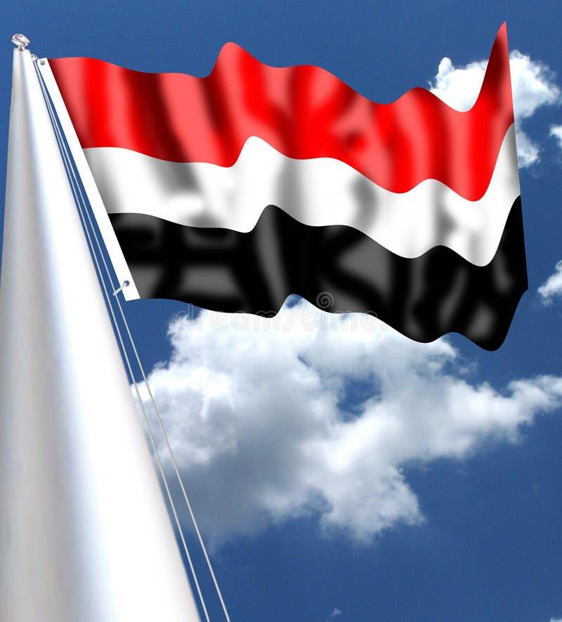 """A bandeira do árabe de Iémen: """"Ù DO ¹ Ù DE Ø… O † do """"يم Ù de ا٠foi adotado o 22 de maio de 1990, o dia que Iémen norte e Iém ilustração royalty free"""