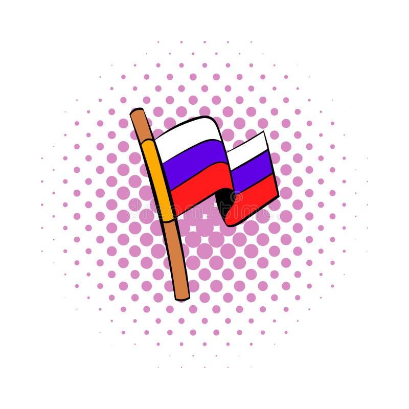 Bandeira do ícone de Rússia, estilo da banda desenhada ilustração do vetor