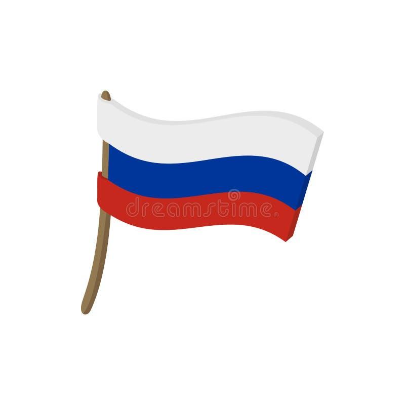 Bandeira do ícone de Rússia, estilo dos desenhos animados ilustração do vetor