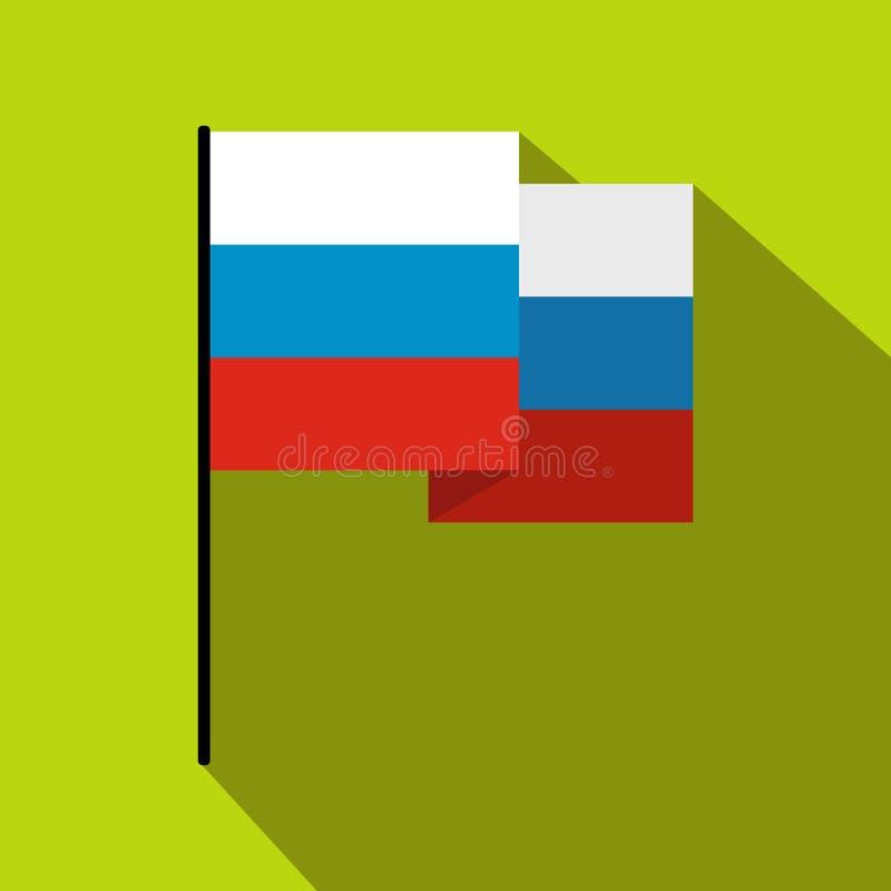 Bandeira do ícone de Rússia, estilo liso ilustração stock