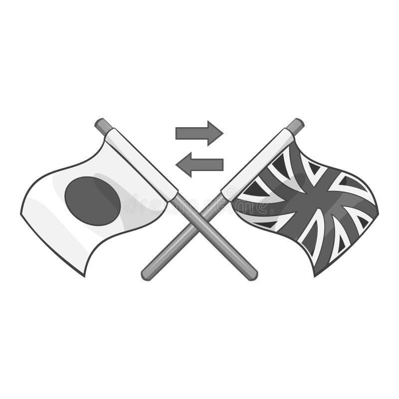 Bandeira do ícone de Reino Unido e de Japão ilustração do vetor