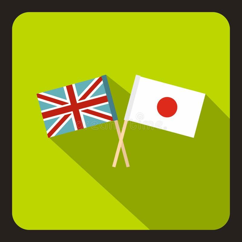 Bandeira do ícone de Reino Unido e de Japão, estilo liso ilustração stock