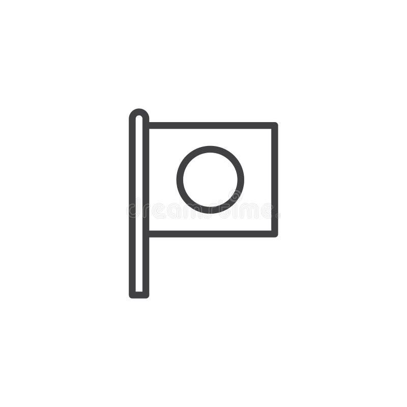 Bandeira do ícone do esboço de Japão ilustração royalty free