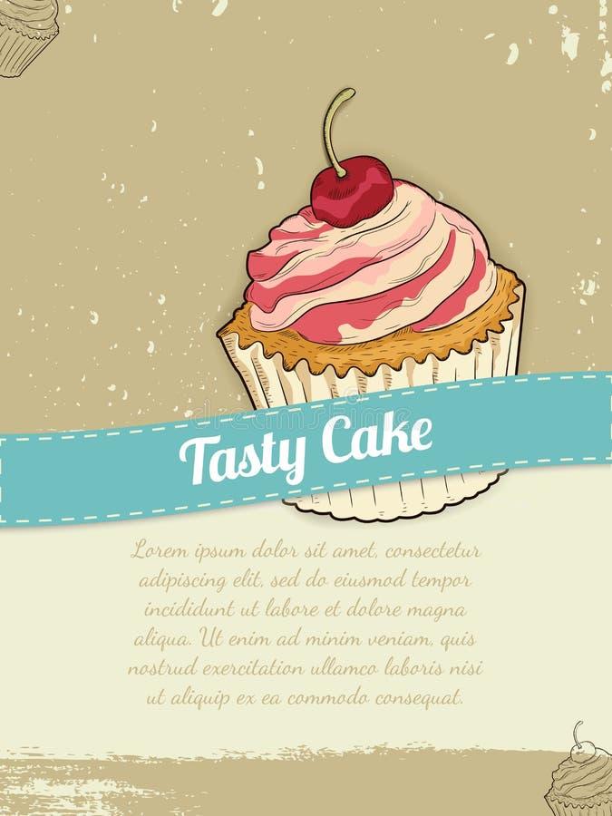 Bandeira do alimento com o bolo para anunciar Graphhics do vetor ilustração stock