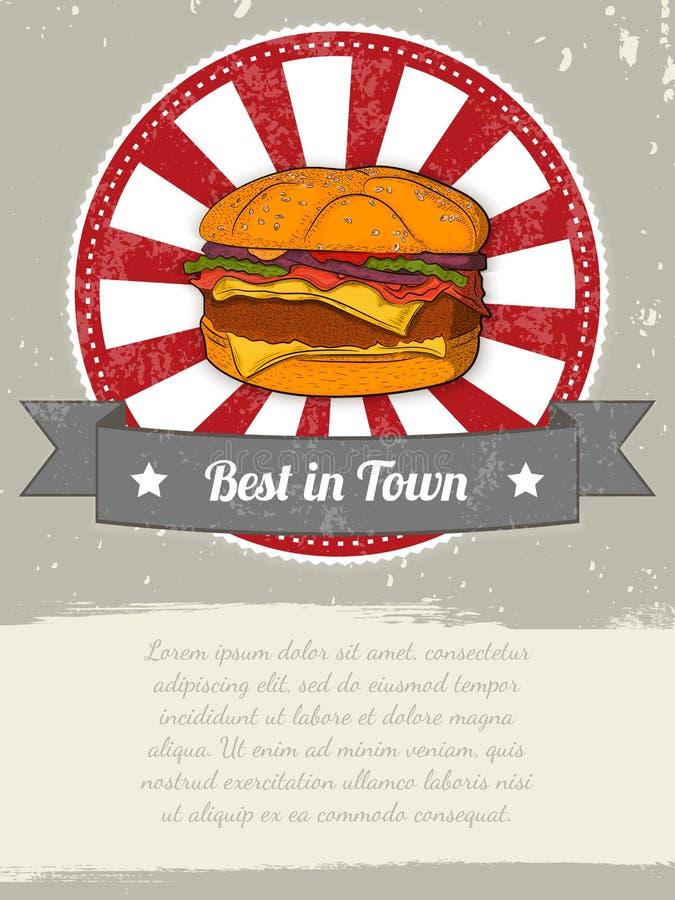 Bandeira do alimento com o hamburguer para anunciar Graphhics do vetor ilustração royalty free