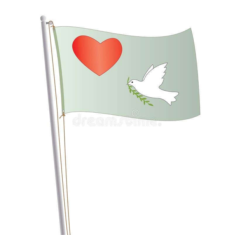Bandeira do amor e da paz ilustração stock