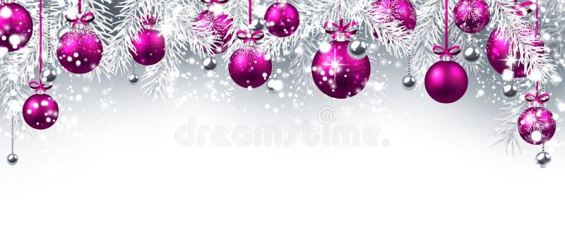 Bandeira do ano novo com bolas do Natal ilustração royalty free