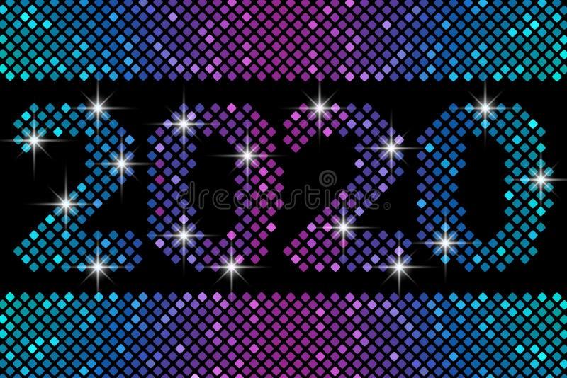 Bandeira do ano novo feliz com números 2020 Ilustra??o do vetor ilustração do vetor