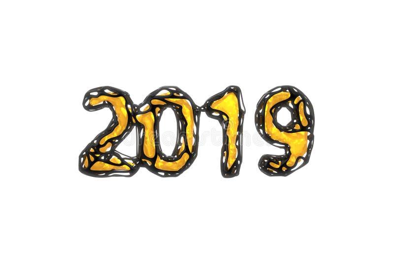 Bandeira do ano novo feliz com os 2019 números feitos o escudo preto prendido plástico lustroso brilhante e pela incandescência a ilustração royalty free