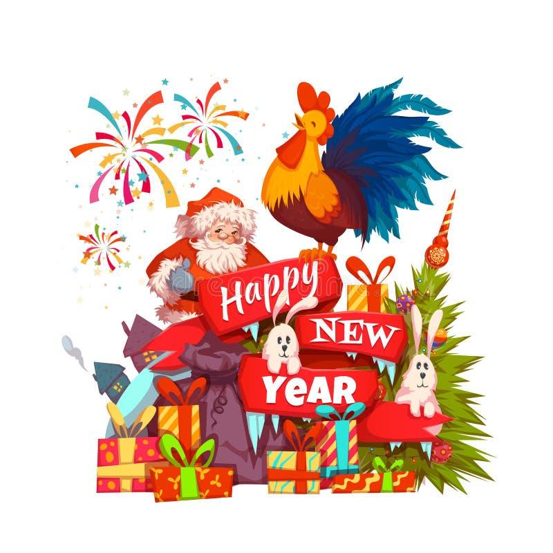 Bandeira 2017 do ano novo feliz com Santa Claus e o galo na fita Ilustração do vetor ilustração do vetor