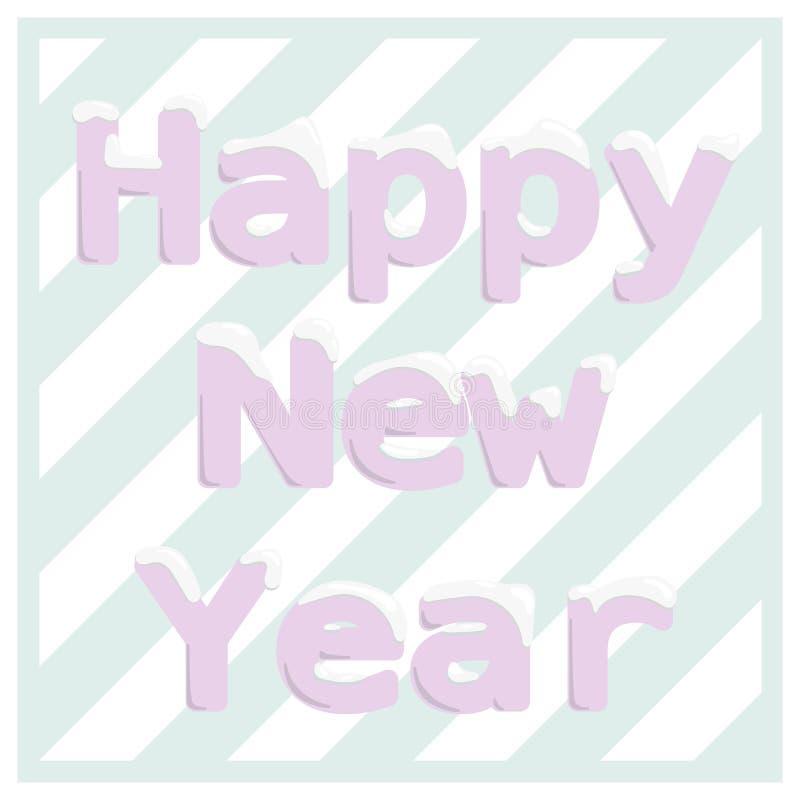 Bandeira do ano novo feliz Letras cor-de-rosa com snowbank ilustração royalty free