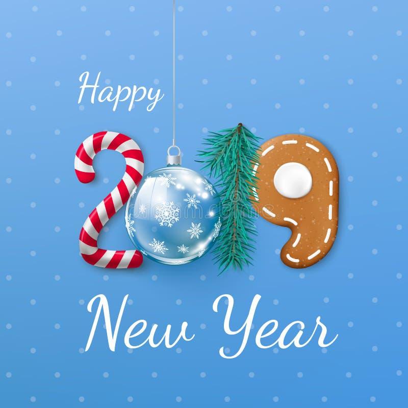 Bandeira 2019 do ano novo feliz Rotulação festiva criativa Pinho da bola dos doces e do Natal e cookie do pão-de-espécie Ilustraç ilustração royalty free
