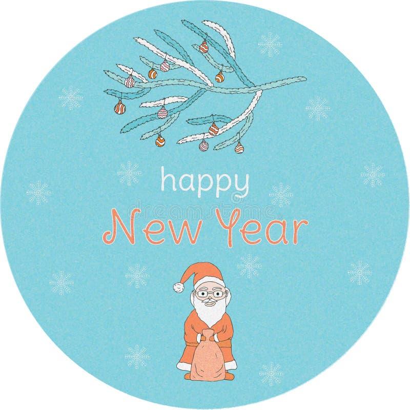 Bandeira do ano novo Santa Claus, a inscrição, flocos de neve e ramo da Natal-árvore com as bolas no círculo azul ilustração do vetor