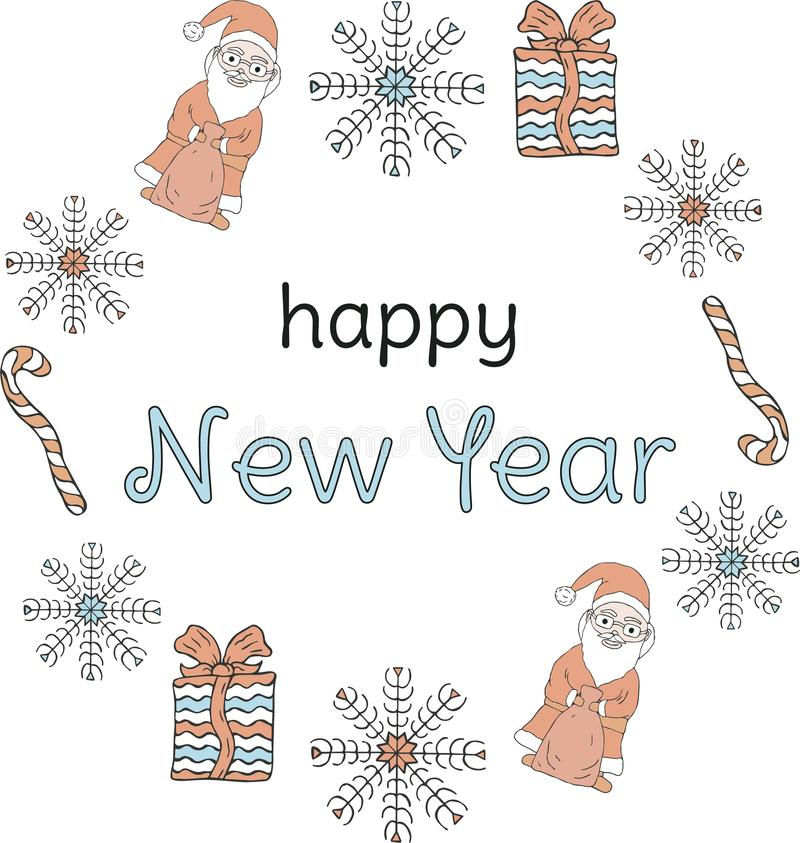 Bandeira do ano novo Santa Clauses, flocos de neve, presentes, bastões de doces em torno da inscrição em um fundo branco ilustração stock