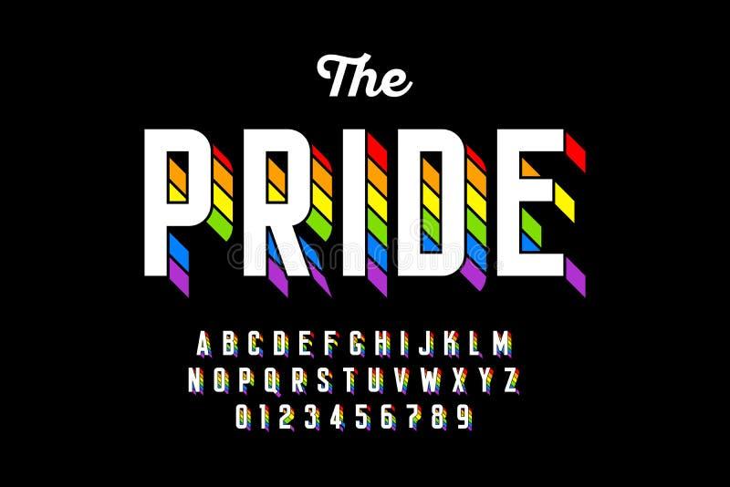 A bandeira do arco-íris colore a fonte ilustração stock