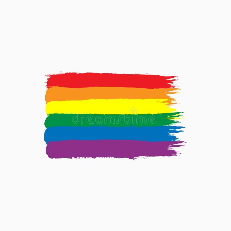 Bandeira do arco-íris da comunidade de LGBT tirada à mão com escova áspera Esboço, grunge, aquarela, pintura ilustração stock