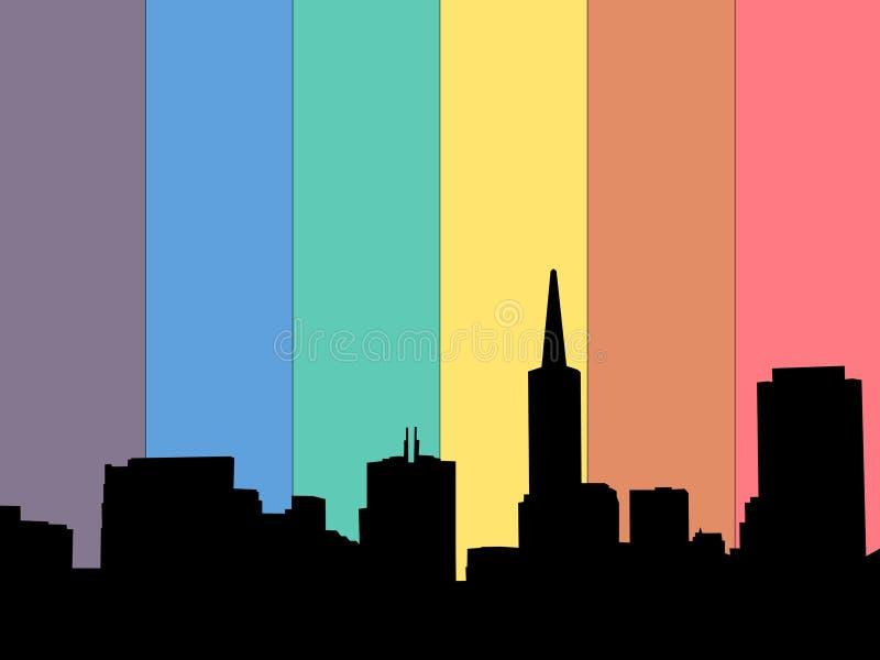 Bandeira do arco-íris da skyline de San Francisco ilustração royalty free