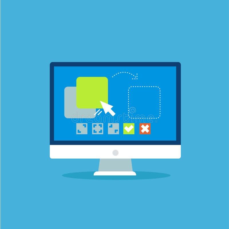 Bandeira do arrasto e da gota O computador com os ajustes do programa e da configuração do local funciona ilustração do vetor