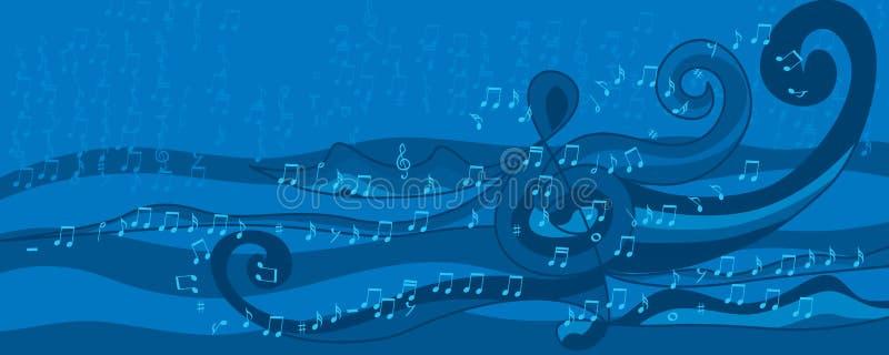 Bandeira do azul do estilo da onda da nota da música ilustração do vetor